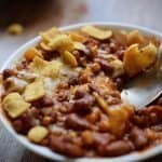 close up of healthy and easy instant pot vegetarian chili with wheat berries