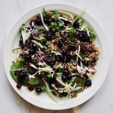 Blueberry Lemon Salad with spinach, craisins, Swiss cheese on a plate. theincrediblebulks.com
