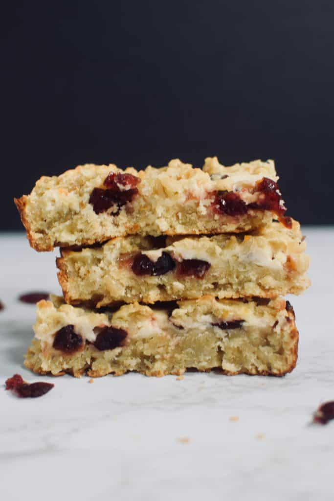 A stack of Cranberry Orange Barley Bars brought to you by TheIncredibleBulks.com