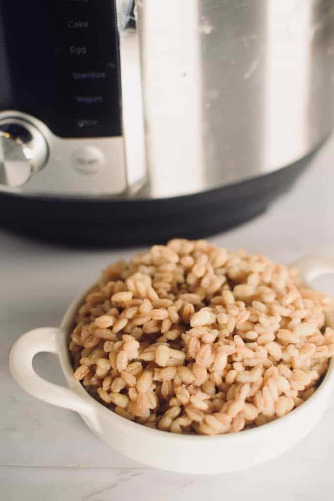 A small bowl of cooked barley in front of an Instant Pot.  Theincrediblebulks.com