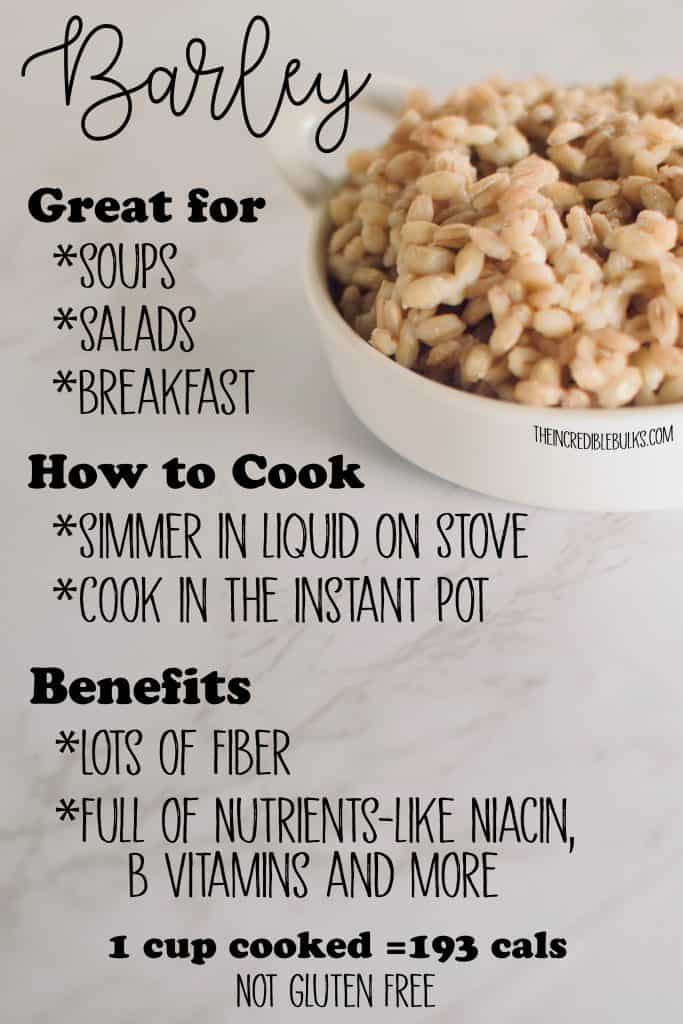 A close up of a bowl of barley, along with facts about how to cook it, what it's health benefits are, and  how to use it.  theincrediblebulks.com