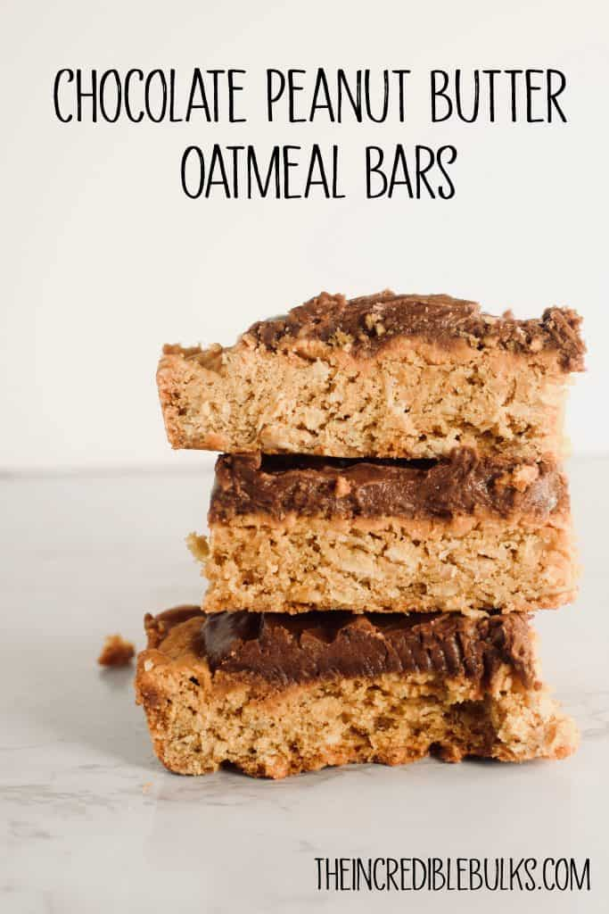3 Chocolate Peanut Butter Oatmeal Bars stacked on top of each other and shown from the side.  Brought to you by TheIncredibleBulks.com