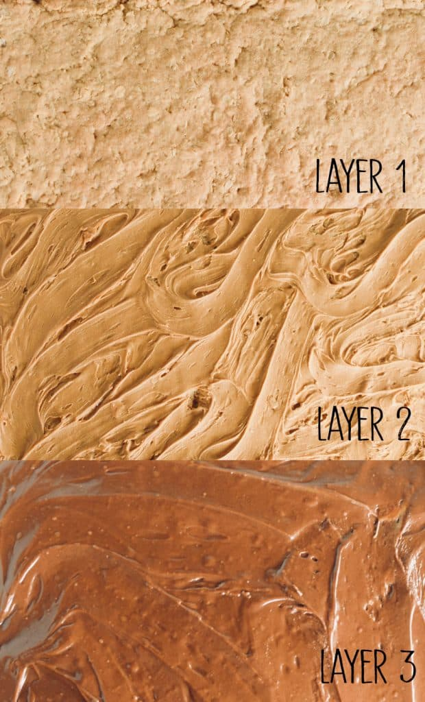 the 3 layers of Peanut Butter bars are shown: layer 1-peanut butter oatmeal bar.  layer 2-peanut butter.  layer 3 chocolate frosting. By TheIncredibleBulks.com