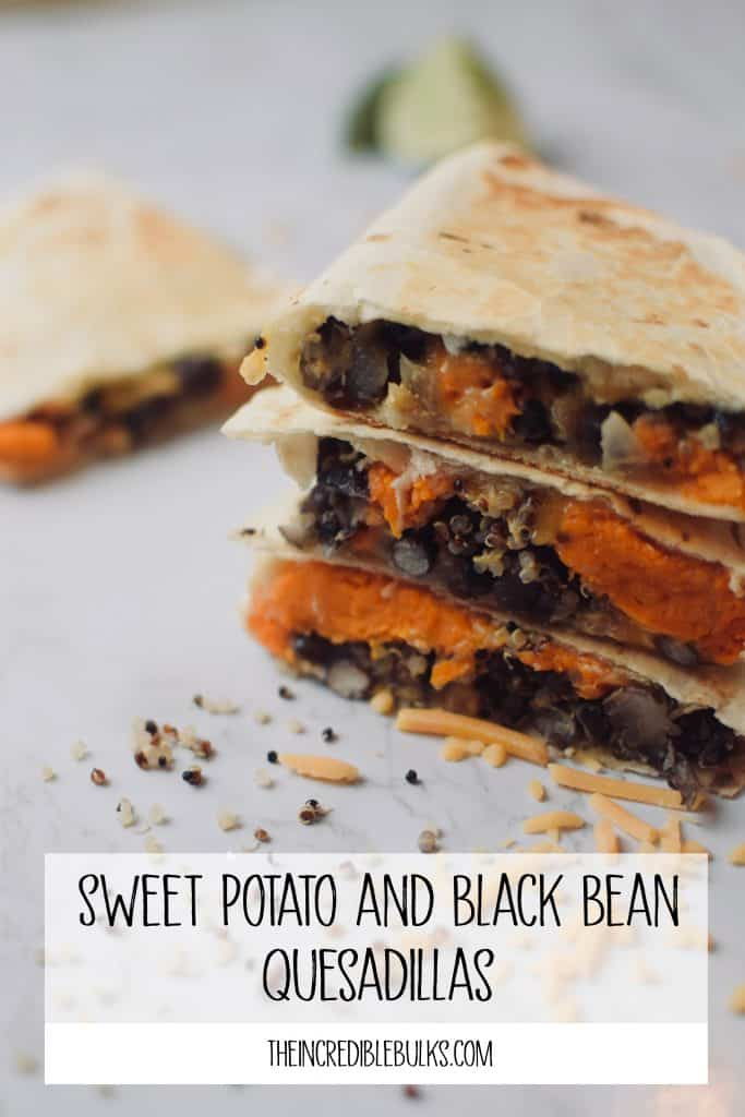 A stack of 3 sweet potato and black bean quesallas featuring quinoa.  theincrediblebulks.com