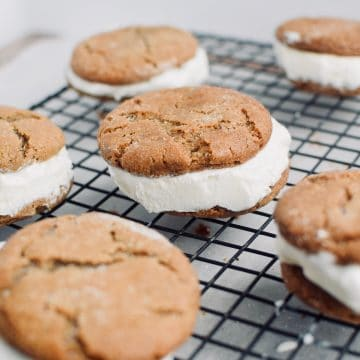 6 gingerbread icecream sandwiches on a cooling rack