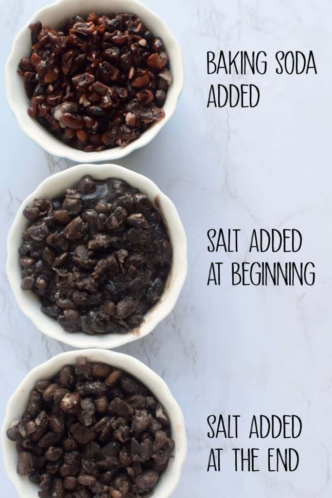 "3 bowls of beans are shown.  The first bowl has the words ""baking soda added"" next to it and the beans have turned red, the 2nd bowl says ""salt added at beginning"" next to it.  The last bowl has the words ""salt added at the end"" next to it.  The beans look black in the last 2 bowls."