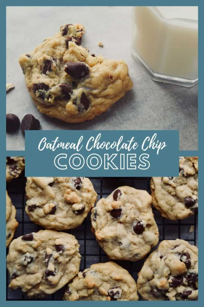 """2 photo collage.  The top photo shows a cookie and a glass of milk.  The bottom shows several oatmeal chocolate chip cookies on a cooling rack.  The words """"Oatmeal Chocolate Chip Cookies"""" are written across the center."""