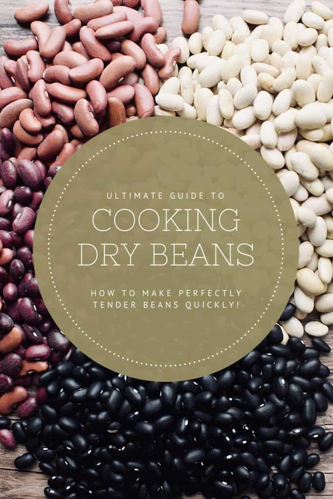"4 types of beans-red, kidney, mayo white and black-are in a pile on a wooden table.  A green circle in the center says ""The Ultimate Guide to Cooking Dry Beans.  How to make perfectly tender beans quickly."""