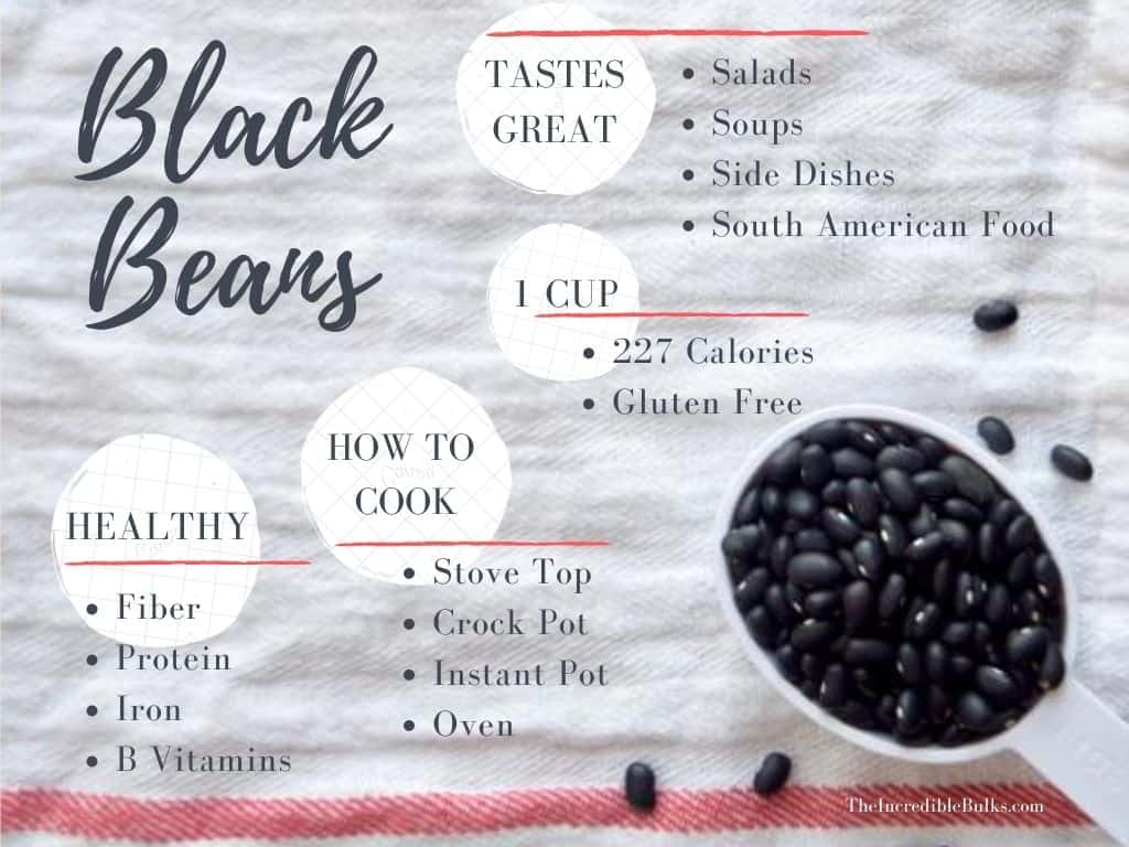 An Infographic summarizing the points of the article. a measuring cup of black beans is in the corner.