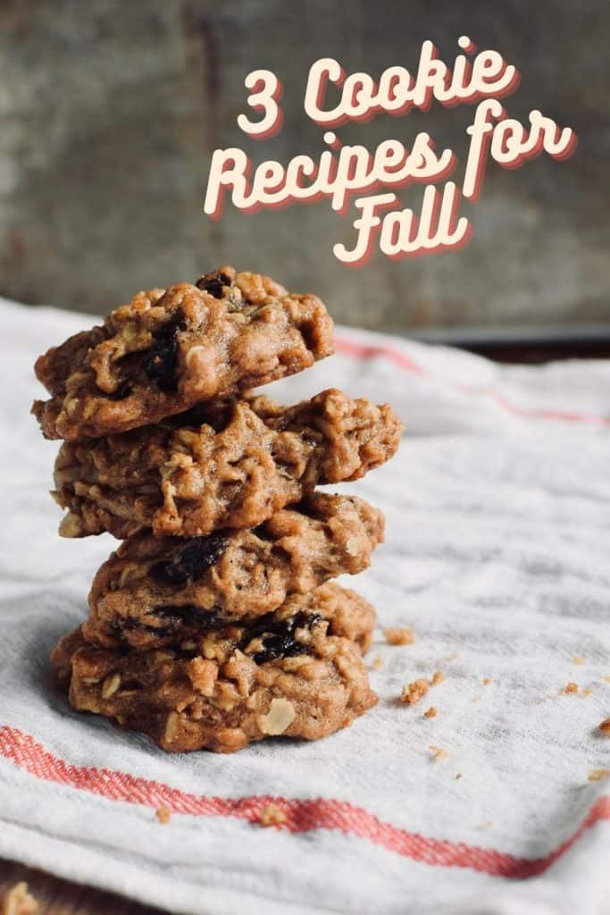 "a stack of 4 oatmeal raisin cookies on a tea towel, the words ""3 cookie recipes for Fall"" is written in the top corner."