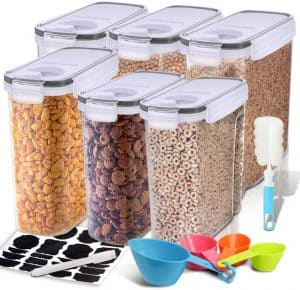 6 tall storage containers are shown holding various cereals.