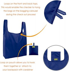 a reusable bag is shown with sections highlighted to show features, like extra loops on the front and back.