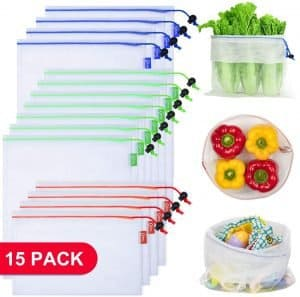 """15 mesh reusable produce bags are shown.  3 bags are full of different types of produce.  The rest are laying flat with the words """"15 pack"""""""