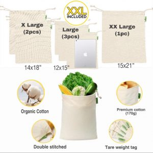 6 reusable muslin bags are shown.  They have drawstrings and are cream colored. Some of the bags are shown filled with various ingredients