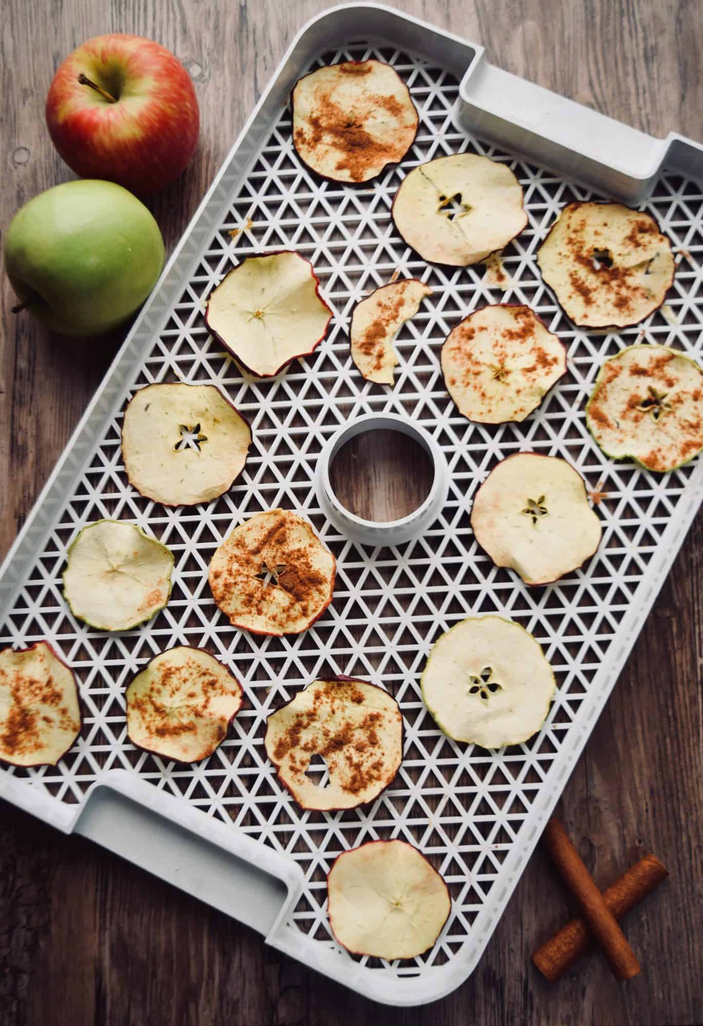 a dehydrator tray with apple chips on it. Some of them have cinnamon sugar on top and some are plain. 2 apples are next to the tray.