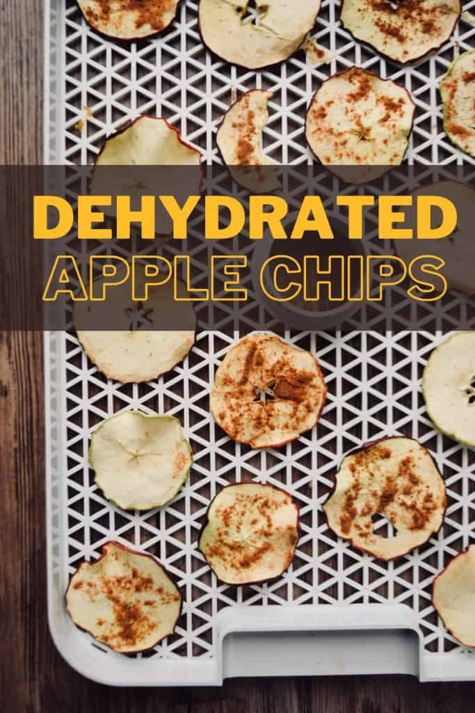 "a dehydrator tray with apple chips on it. Some of them have cinnamon sugar on top and some are plain. The words ""Dehydrated Apple Chips"" are written across the top."