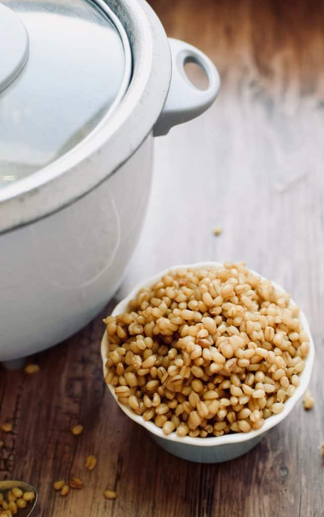 A small bowl of wheat berries next to a rice cooker.